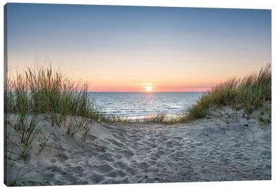 Dune beach at sunset Canvas Art Print