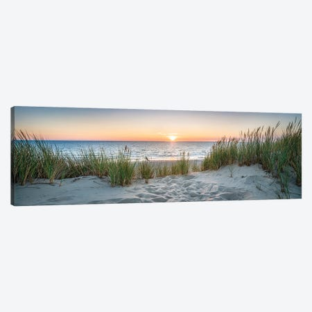 Dune beach panorama at sunset, North Sea coast, Germany Canvas Print #JNB495} by Jan Becke Canvas Print