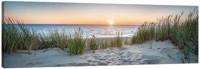 Dune beach panorama at sunset, North Sea coast, Germany Canvas Art Print