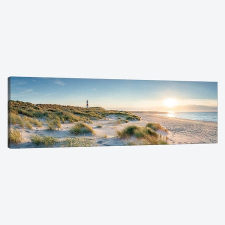 Sylt panorama at sunset with lighthouse List Ost, Schleswig-Holstein, Germany Canvas Print #JNB502} by Jan Becke Canvas Art