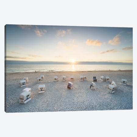 Sunset at the Weststrand (West Beach) on Sylt, Schleswig-Holstein, Germany Canvas Print #JNB507} by Jan Becke Canvas Print