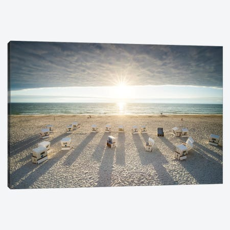 Sunset at the Weststrand beach, Sylt, Schleswig-Holstein, Germany Canvas Print #JNB508} by Jan Becke Canvas Wall Art