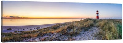Sunrise at the Lighthouse List Ost, North Sea coast, Island of Sylt, Germany Canvas Art Print