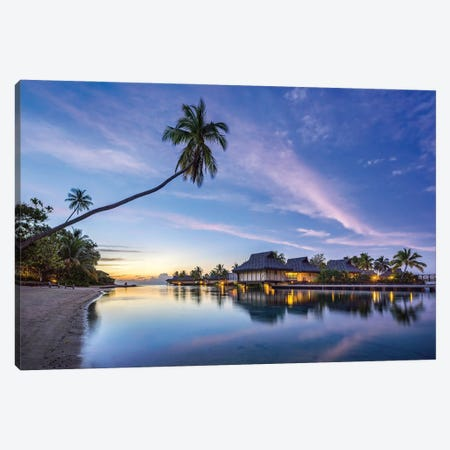 Sunset at a luxury beach resort on Moorea, French Polynesia Canvas Print #JNB516} by Jan Becke Canvas Artwork