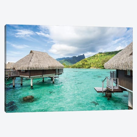 Overwater villas on Moorea, French Polynesia Canvas Print #JNB517} by Jan Becke Canvas Wall Art