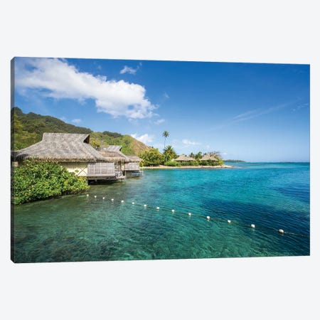 Overwater bungalows on Moorea, French Polynesia Canvas Print #JNB522} by Jan Becke Canvas Wall Art