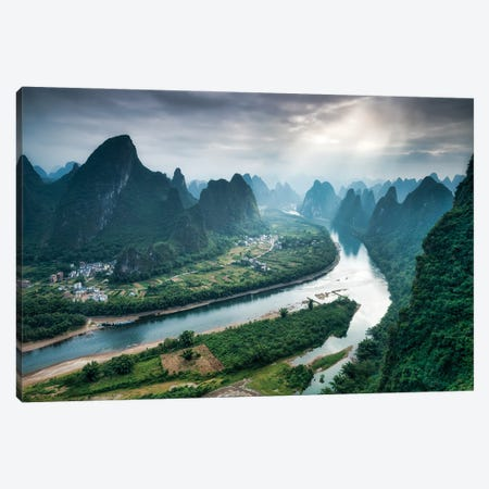 Li River Valley And Karst Peaks Seen From Top of Xianggong Mountain, Yangshuo County, Guilin, China Canvas Print #JNB524} by Jan Becke Canvas Print
