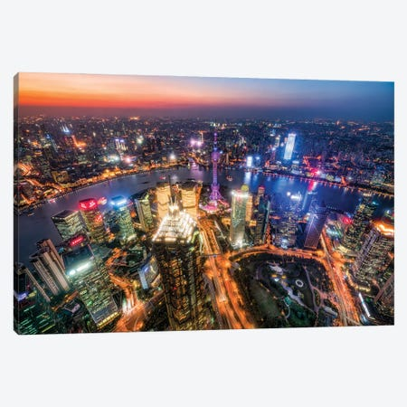 Aerial view of Pudong at night with Oriental Pearl Tower, Shanghai, China Canvas Print #JNB528} by Jan Becke Canvas Art