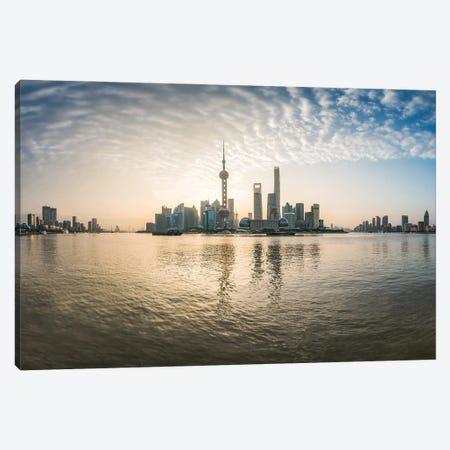 Pudong skyline at sunrise, Shanghai, China Canvas Print #JNB529} by Jan Becke Canvas Artwork