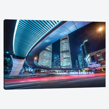 Lujiazui district in Pudong at night, Shanghai, China Canvas Print #JNB533} by Jan Becke Canvas Art Print