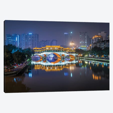 Anshun Bridge at night, Chengdu, China Canvas Print #JNB535} by Jan Becke Canvas Art