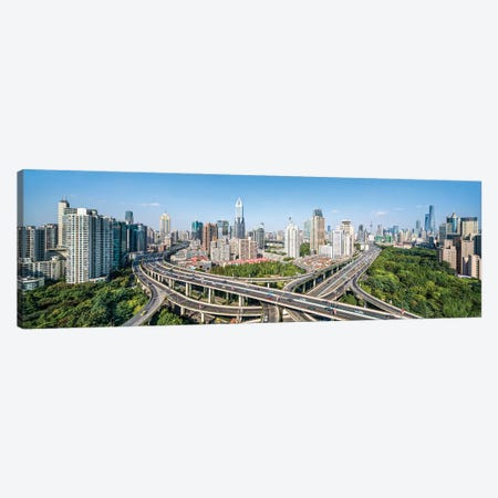 Busy intersection road in front of the Shanghai skyline Canvas Print #JNB537} by Jan Becke Canvas Art