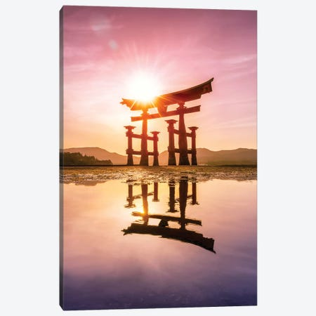 Great Torii Of Miyajima At Sunset Canvas Print #JNB53} by Jan Becke Canvas Wall Art