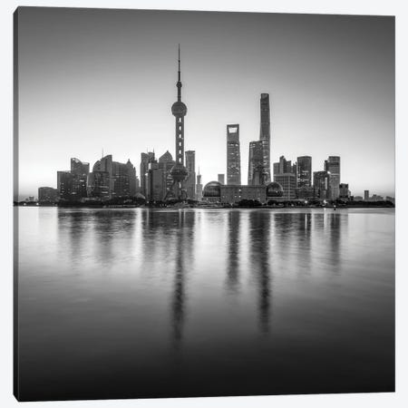 Pudong sykline in black and white, Shanghai, China Canvas Print #JNB540} by Jan Becke Canvas Artwork