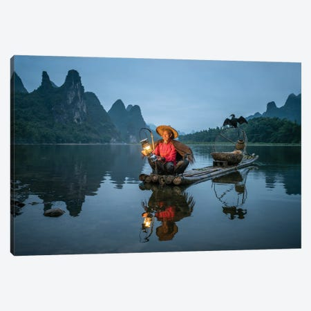 Cormoran fisherman and Karst mountains near Yangshou, Guilin, China Canvas Print #JNB541} by Jan Becke Canvas Art