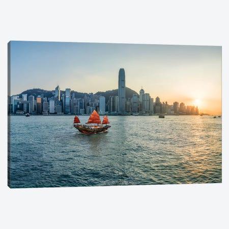 Traditional Chinese junk boat at Victoria Harbour, Hongkong, China Canvas Print #JNB546} by Jan Becke Canvas Art Print