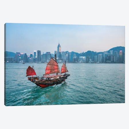 Junk boat with red sail at Victoria Harbour, Hongkong, China Canvas Print #JNB548} by Jan Becke Canvas Wall Art
