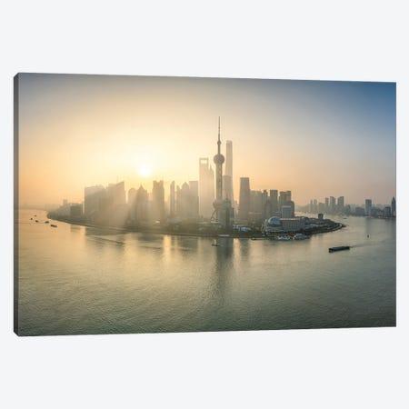 Shanghai sunrise, China Canvas Print #JNB558} by Jan Becke Art Print