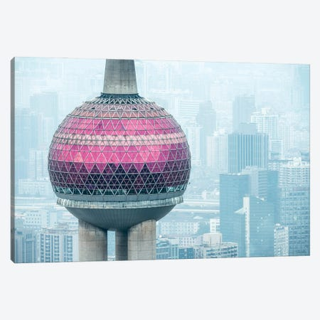 Aerial view of the Oriental Pearl Tower, Shanghai, China Canvas Print #JNB559} by Jan Becke Canvas Print