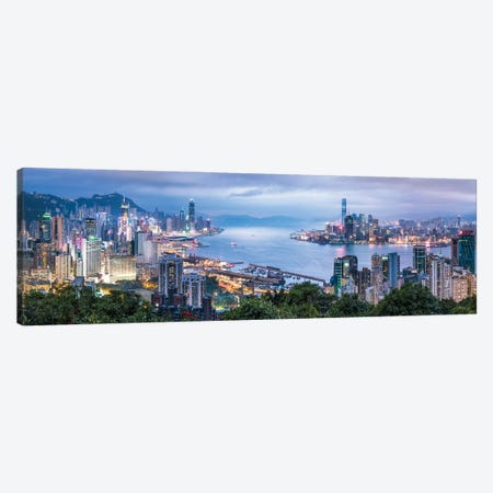 Hong Kong skyline panorama at night Canvas Print #JNB563} by Jan Becke Canvas Art