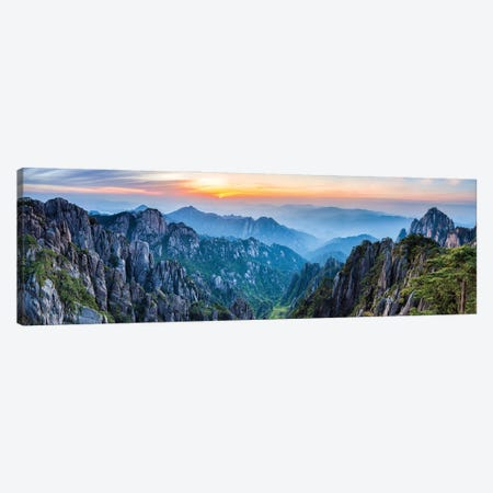 Panoramic view of the Huangshan landscape at sunrise Canvas Print #JNB565} by Jan Becke Canvas Print