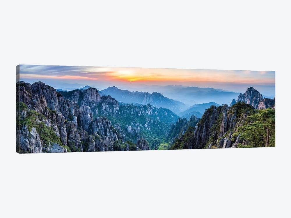 Panoramic view of the Huangshan landscape at sunrise by Jan Becke 1-piece Canvas Art