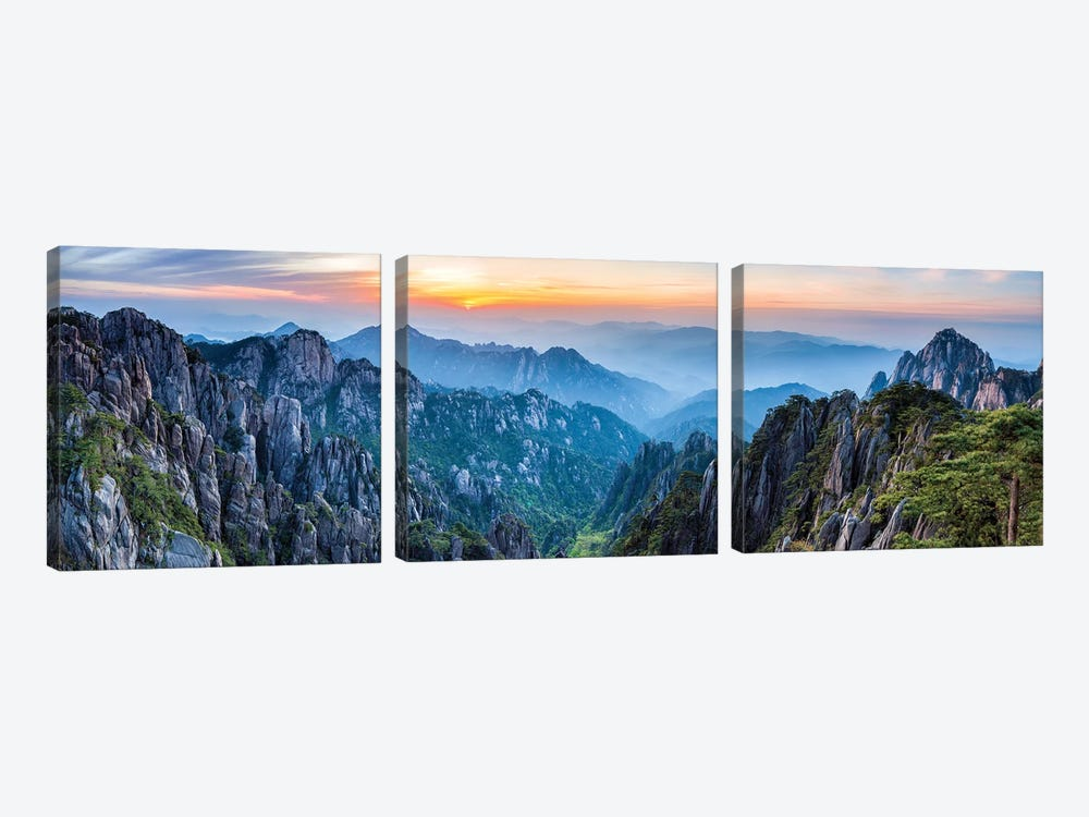 Panoramic view of the Huangshan landscape at sunrise by Jan Becke 3-piece Canvas Wall Art