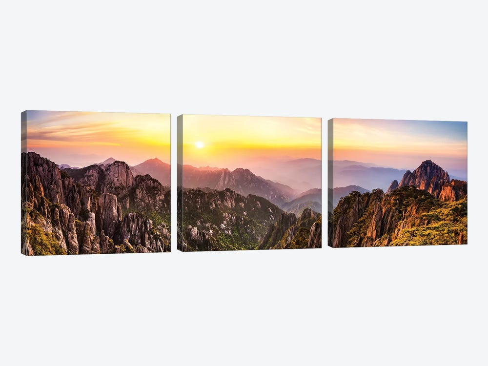 Huangshan also known as the Yellow mountain, Anhui Province, China by Jan Becke 3-piece Canvas Print