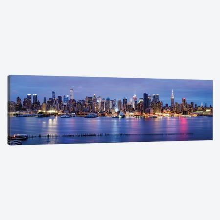 Manhattan skyline panorama at night Canvas Print #JNB574} by Jan Becke Canvas Artwork