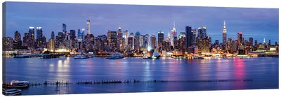 Manhattan skyline panorama at night Canvas Art Print