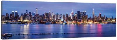 Manhattan skyline panorama at night Canvas Art Print