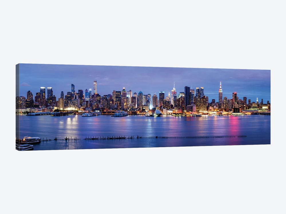 Manhattan skyline panorama at night by Jan Becke 1-piece Canvas Artwork
