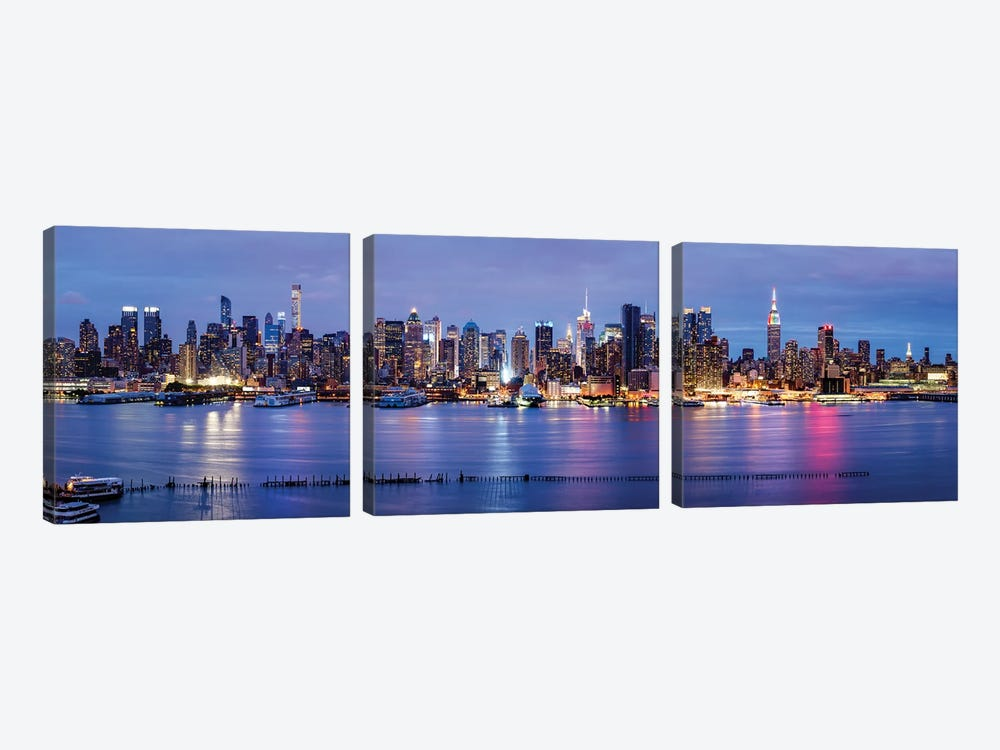 Manhattan skyline panorama at night by Jan Becke 3-piece Canvas Artwork