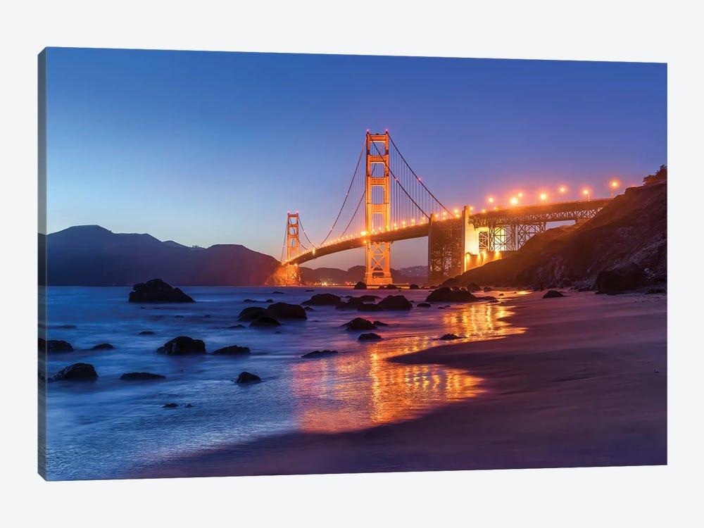 Golden Gate Bridge at night by Jan Becke 1-piece Canvas Art Print