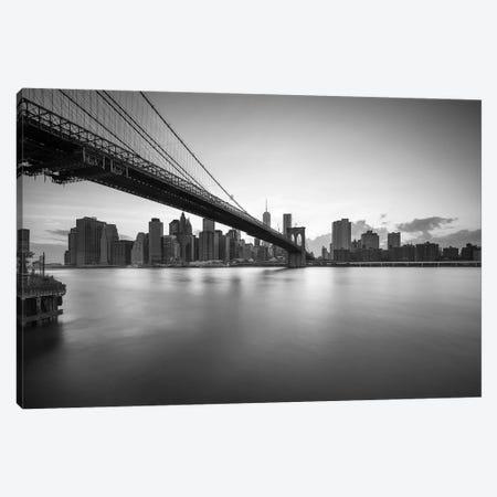 Brooklyn Bridge black and white Canvas Print #JNB583} by Jan Becke Canvas Artwork