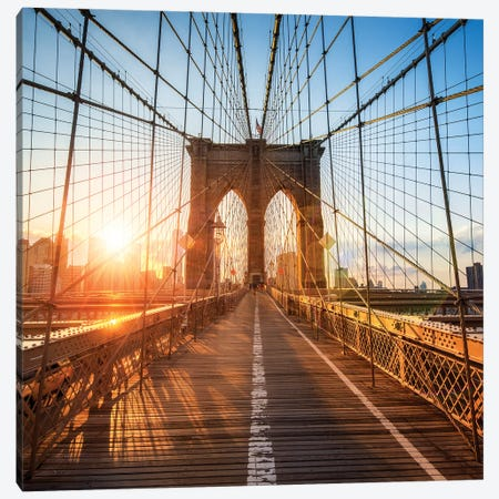 Brooklyn Bridge sunset Canvas Print #JNB584} by Jan Becke Canvas Art Print
