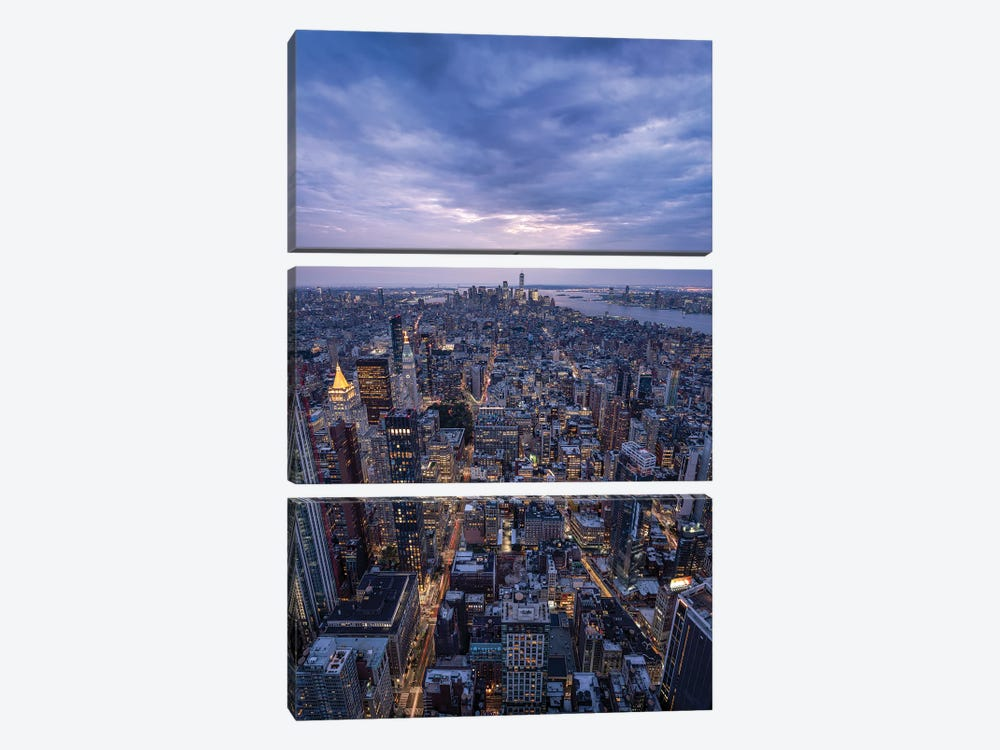 Lower Manhattan Skyline seen from top of the Empire State Building by Jan Becke 3-piece Art Print