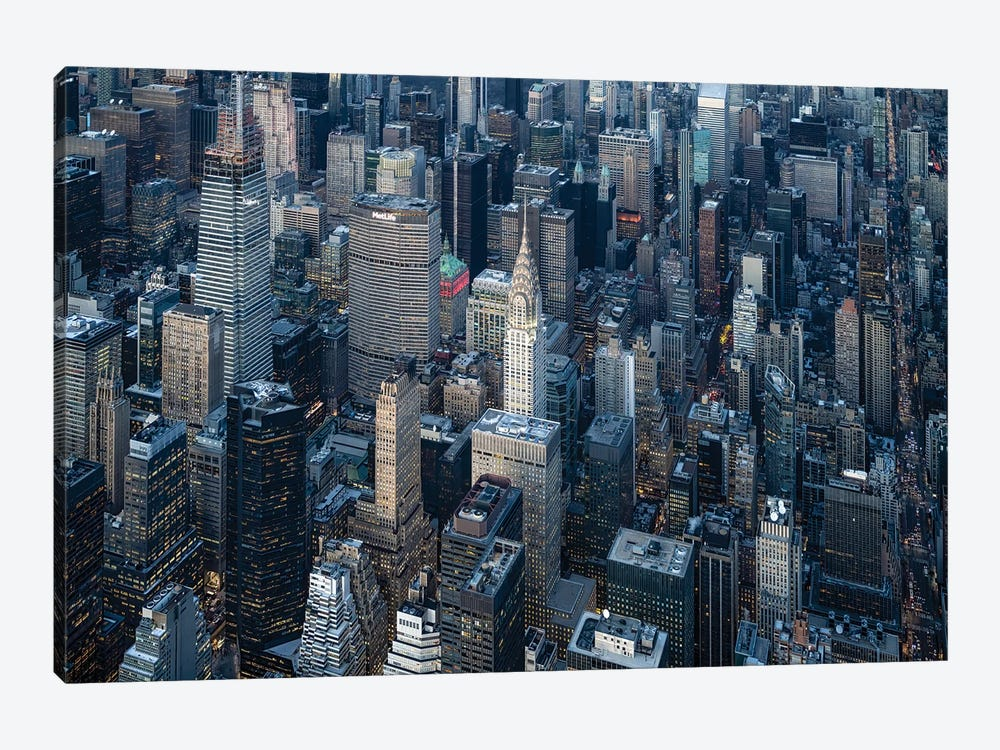 Aerial view of the Chrysler Building in Midtown Manhattan, New York City, USA by Jan Becke 1-piece Canvas Art Print