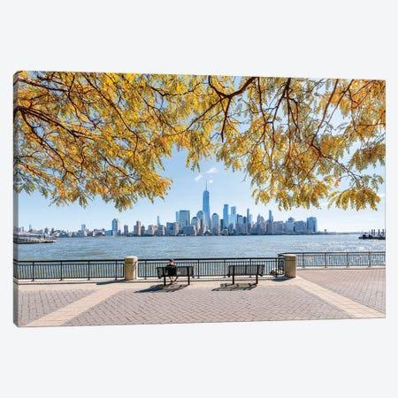 Manhattan Skyline with Hudson River in autumn Canvas Print #JNB596} by Jan Becke Canvas Wall Art