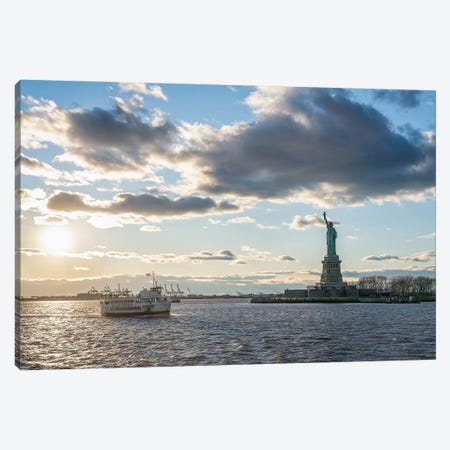 New York City Harbor Cruise at sunset with view of Liberty Island and Statue of Liberty Canvas Print #JNB597} by Jan Becke Canvas Art