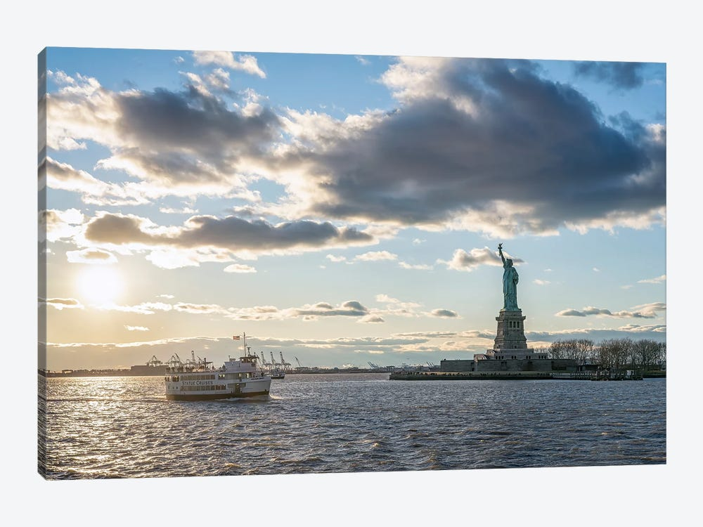 New York City Harbor Cruise at sunset with view of Liberty Island and Statue of Liberty by Jan Becke 1-piece Canvas Art Print
