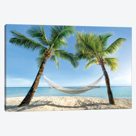Hammock Between Two Palm Trees Canvas Print #JNB59} by Jan Becke Canvas Artwork