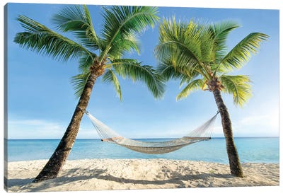 Hammock Between Two Palm Trees Canvas Art Print