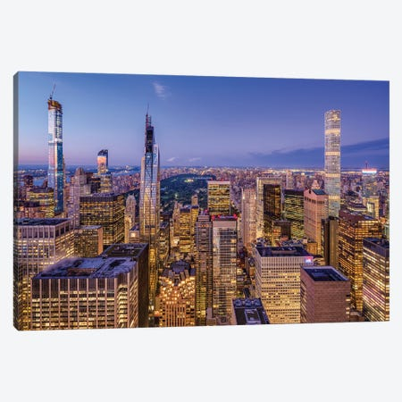 Billionaires' Row and Central Park at night Canvas Print #JNB601} by Jan Becke Art Print
