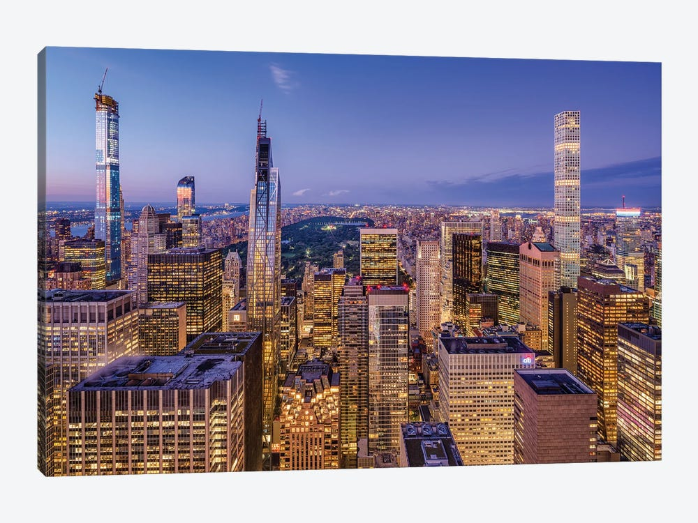 Billionaires' Row and Central Park at night by Jan Becke 1-piece Canvas Art