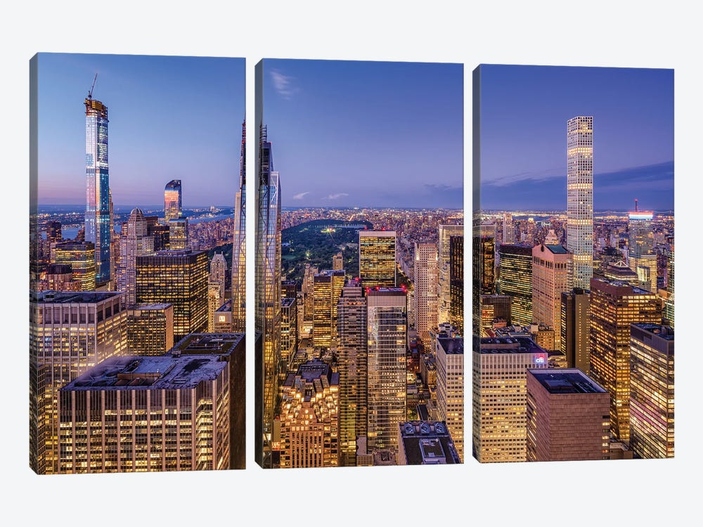 Billionaires' Row and Central Park at night by Jan Becke 3-piece Canvas Artwork