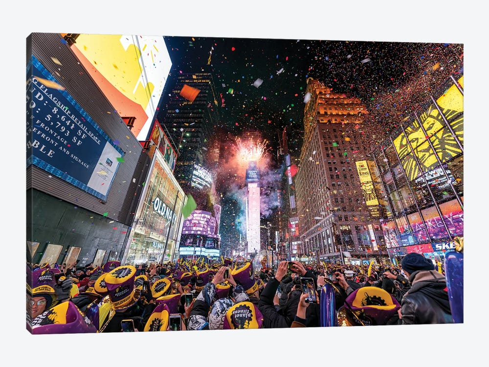 Times Square New Year's Eve celebration by Jan Becke 1-piece Canvas Wall Art