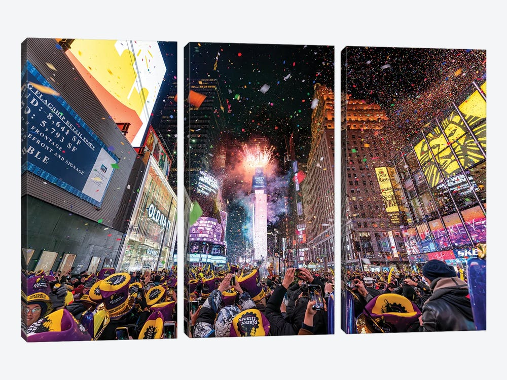 Times Square New Year's Eve celebration by Jan Becke 3-piece Canvas Artwork