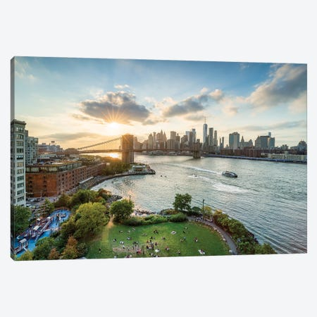 Main Street Park in Brooklyn with Manhattan skyline and Brooklyn Bridge Canvas Print #JNB607} by Jan Becke Canvas Wall Art