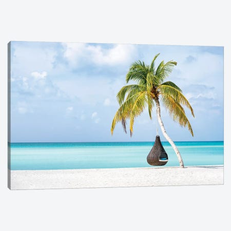 Hanging Swing Chair On The Beach 3-Piece Canvas #JNB60} by Jan Becke Canvas Art Print